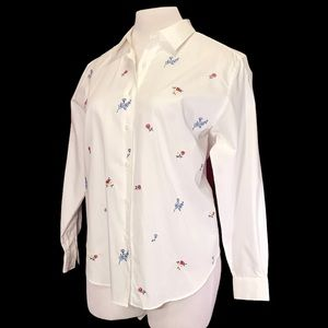 Classic White Button Down Shirt Floral Embroidery